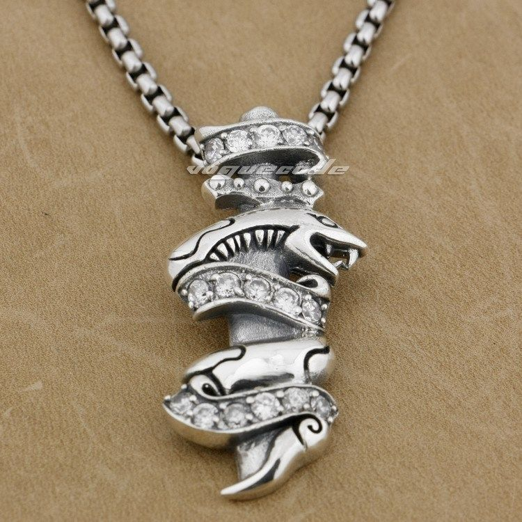925 Sterling Silver White CZ Stone Snake Mens Biker Rocker Pendant 9H022A(Necklace 24inch) 925 sterling silver lovely dumbo white cz stone pendant 9s107a 92 5