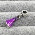 Rapunzel Vestido Prateado dangle Com Lilás E Magenta Esmalte Beads Fit Pandora Europeia Pulseiras & Bangles Colar B00283
