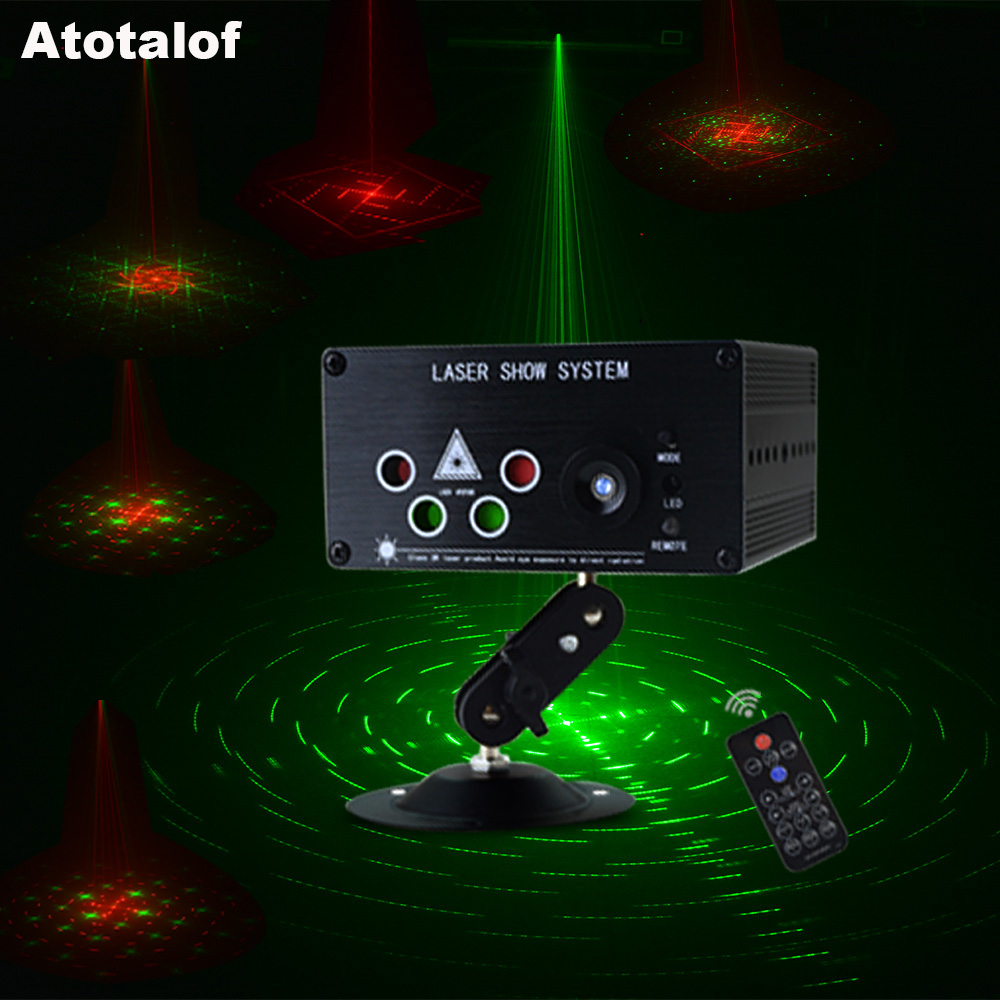 Atotalof Mini LED Laser Light RGB 120 Patterns 5 Lens Laser Projector 3W Blue LED DJ Party Disco Laser LED Stage Lighting Effect atotalof 24 patterns rgb mini laser projector light dj disco party music laser stage lighting effect with led rgb xmas lights