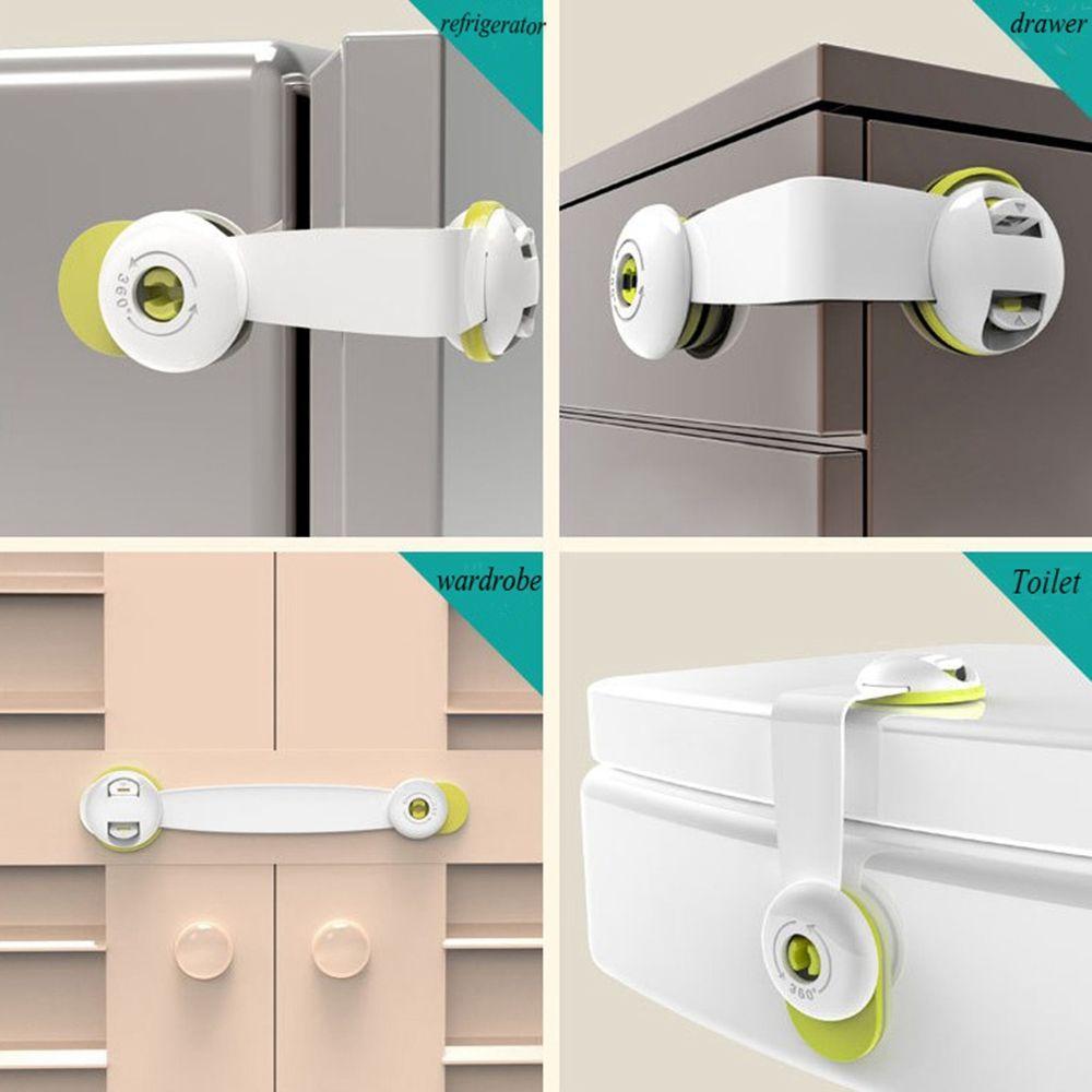 Multi-function Double Button Baby Anti Pinch Drawer Door  Refrigerator Lock Children Safety Protection Drawer Toilet Lock