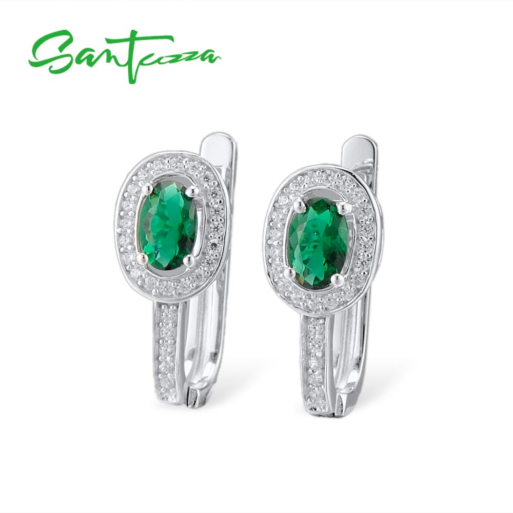 Santuzza 925 Silver Earrings Women Jewelry Oval Green Glass Sterling Silver Round White Cubic Zirconia Stud Earrings For Women pair of stylish rhinestone triangle stud earrings for women