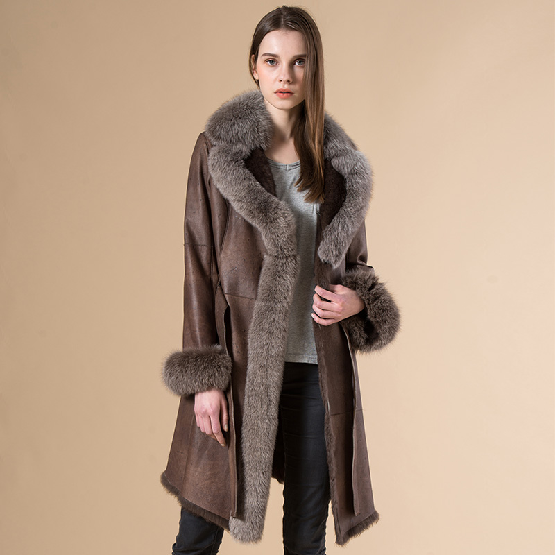 Popular Womens Shearling Coat with Fur Collar-Buy Cheap Womens