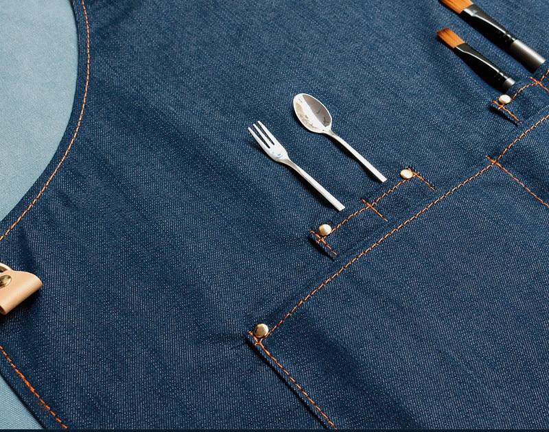 Denim Keuken Koken Schort met Verstelbare Katoen Band Grote Zakken Blauw Barista Mannen en Vrouwen Homewear - 4