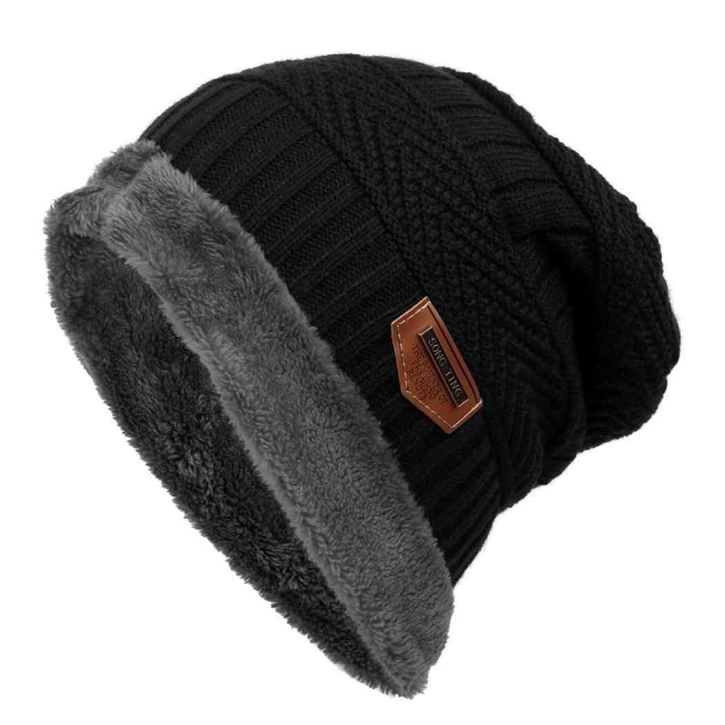 aad1938d7fc029 ... Women Fleece Winter Fashion Hat Beanie Warm Men Color Knitted Contrast  ...