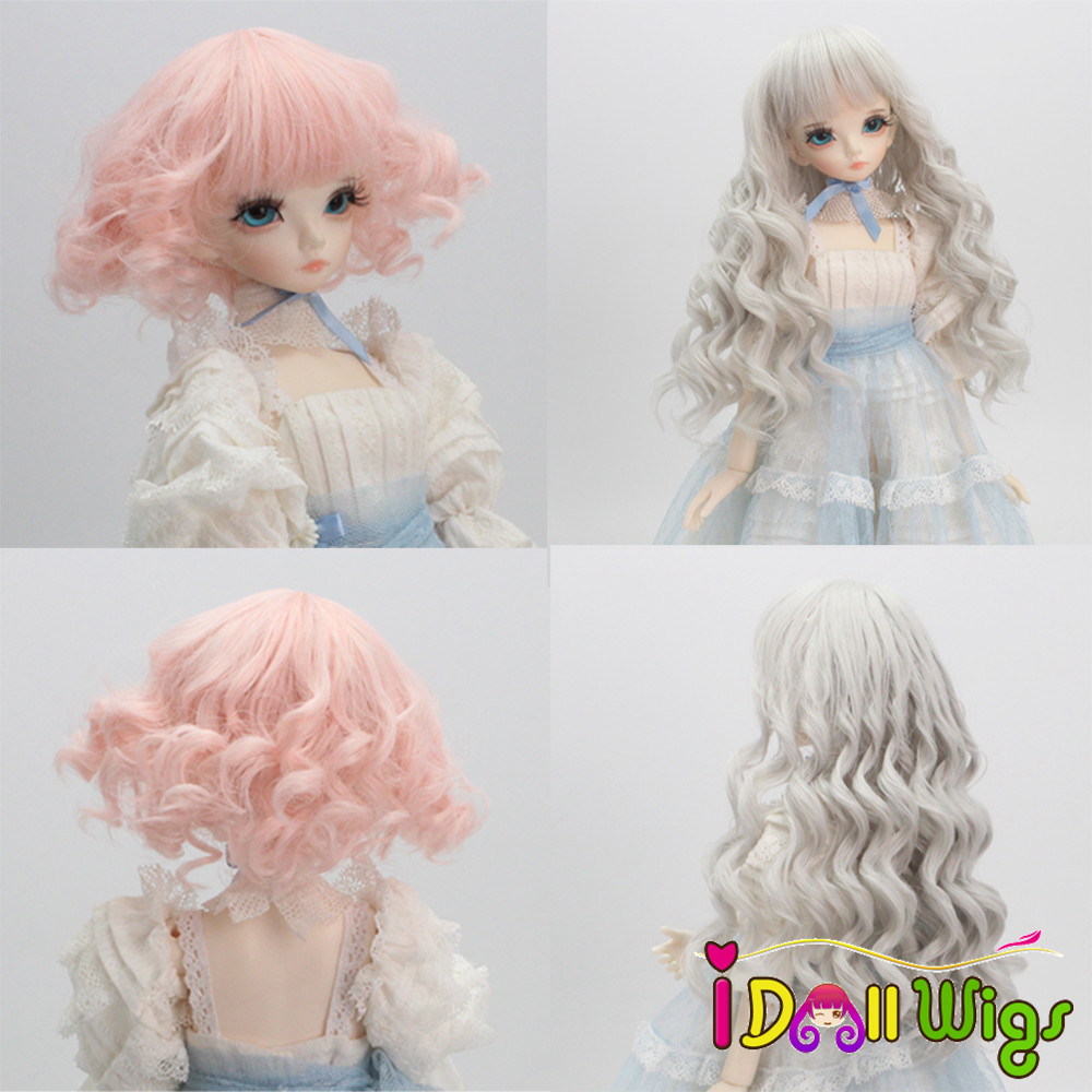 Doll Hair Wigs Pink Grey Ombre Curly Wigs For 1/3 1/4 1/6 BJD/SD Dolls Heat Resistant Wire