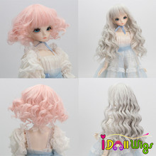 Doll Hair Wigs Pink Grey Ombre Curly Wigs for 1/3 1/4 1/6 BJD/SD Dolls Heat Resistant Wire doll wigs hair heat resistant synthetic wire long afro curly white pink green blue ombre color wigs for 1 3 1 4 1 6 bjd sd dolls