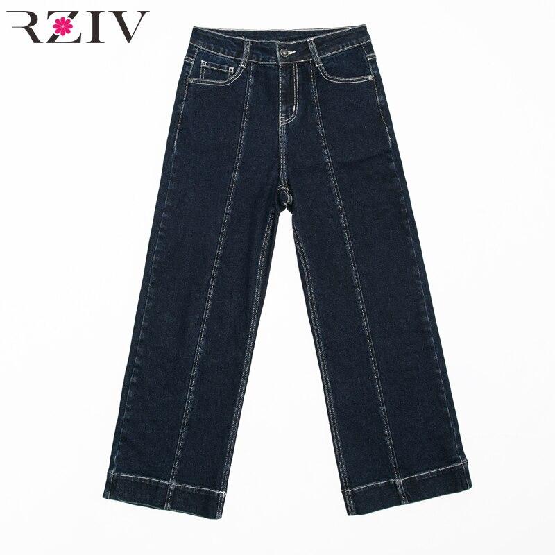 Vaqueros Color Sólido Y Las Mezclilla Anchos Jeans Casual Suelto Diseño Otoño Pierna Azul De Pantalones Rziv Mujeres Y066Pq