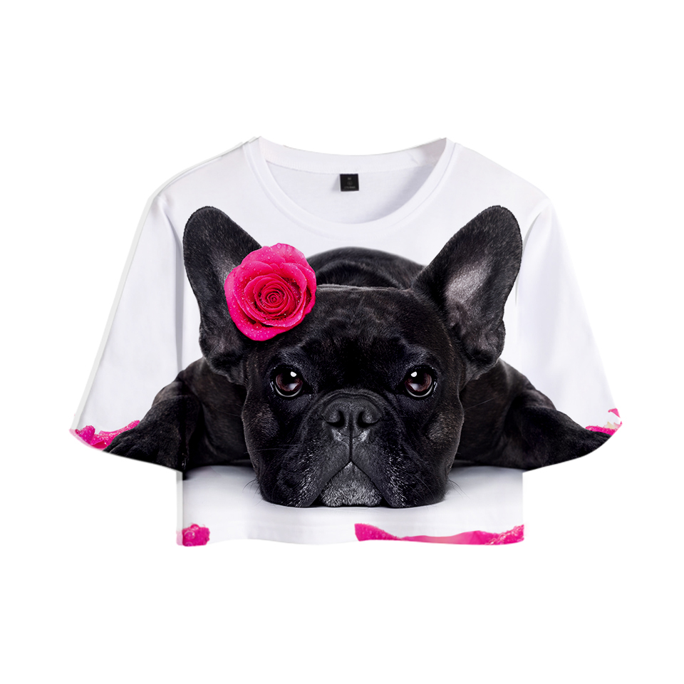 French Bulldog <font><b>3D</b></font> Printed Women Crop Tops Fashion Summer Short Sleeve Tshirt 2019 Hot Sale Casual Trendy Streetwear <font><b>Sexy</b></font> <font><b>T</b></font> <font><b>shirt</b></font> image