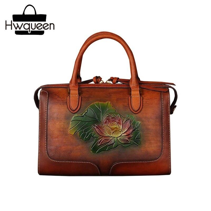 все цены на Embossing Lotus Flower Designer Genuine Tanned Leather Women Boston Purse Female Shoulder Bag Lady Pillow Bag Top-handle Handbag онлайн