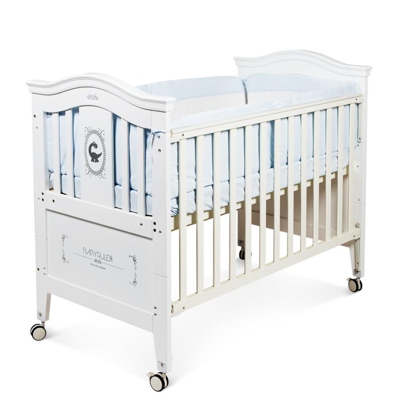 Babyruler Baby Game Bed Wood European Environmental Protection Paint Multifunctional White Crib цены онлайн