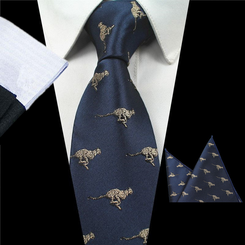 GUSLESON New Design Animal Tie Set For Fashion Men Quality Silk Tie Hanky Christmas Necktie Jacquard Woven Slim Tie For Wedding