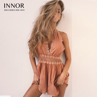 INNOR 2017 Women Sexy Jumpsuit Open Back Backless Body Lace Stitching Deep V Beach Playsuit