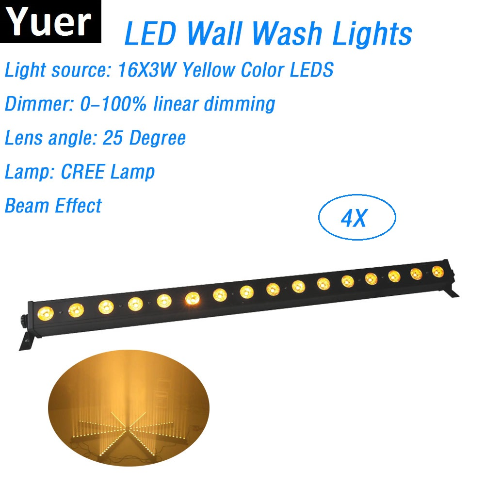 4XLot Free Shipping 16X3W Yellow Color CREE LED Lamp DMX Wall Washer Lights Indoor LED Wash Bar Lights 25 Degree Lens Angle