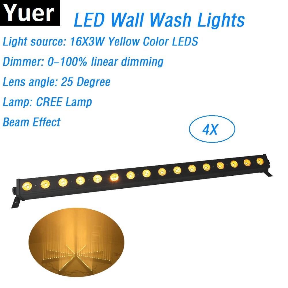 4xlot Бесплатная доставка 16X3 W желтый Цвет CREE светодиодный ЛАМПА DMX для настенных светильников Indoor светодиодный для мойки для бара огни 25 граду