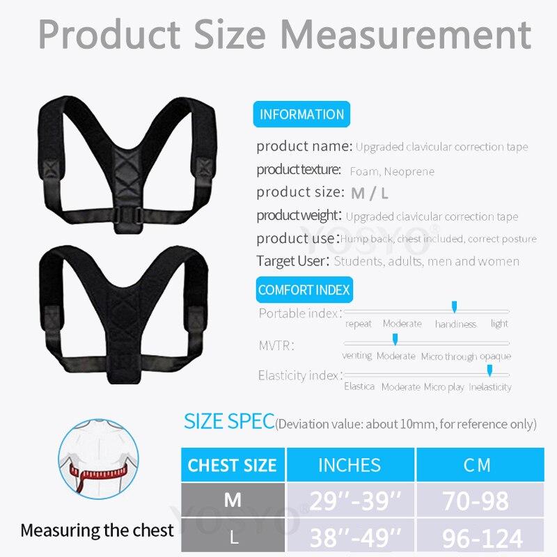 YOSYO Brace Support Belt Adjustable Back Posture Corrector Clavicle Spine Back Shoulder Lumbar Posture Correction 5
