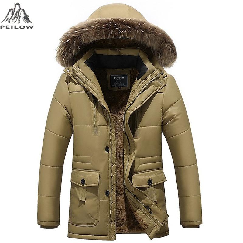 PEILOW плюс размер M ~ 7XL 8XL зимняя куртка среднего возраста мужчины плюс толстое теплое пальто куртка мужская повседневная Съемная куртка с кап...