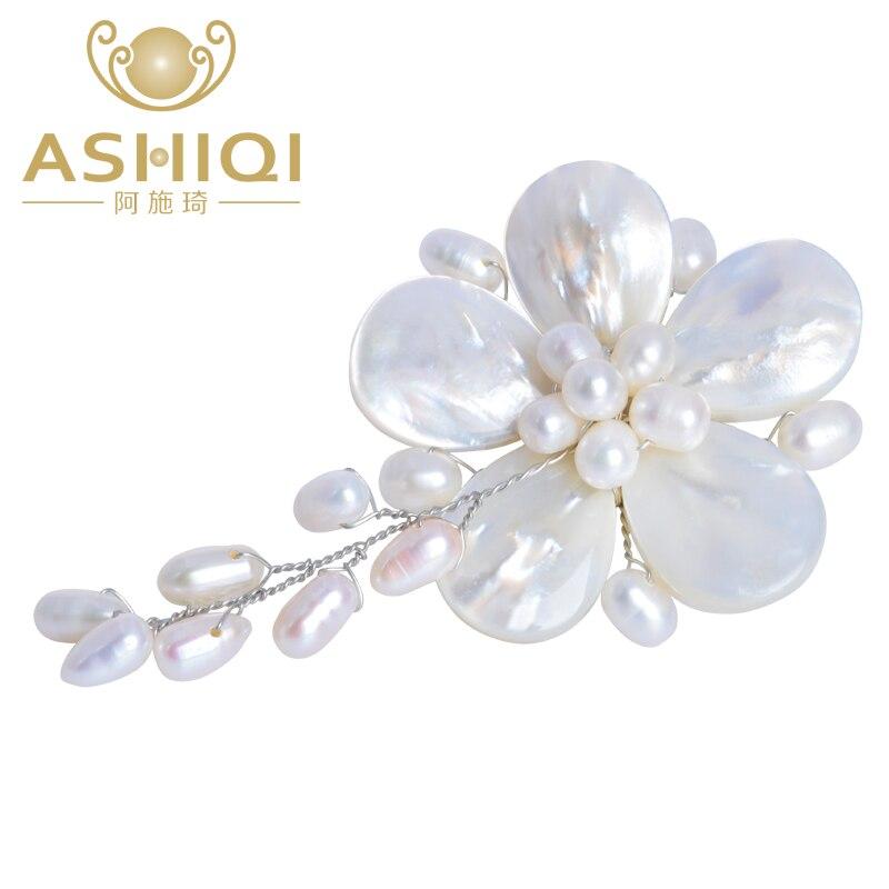 Ashiqi Neue Kommende Natürliche Süßwasser Perle Brosche Handgemachte Blume Brosche Pin Romantische Hochzeit Braut Brautjungfer Schmuck