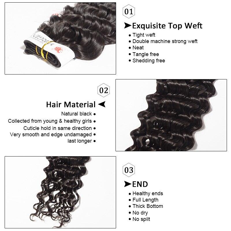 [FYNHA] бразильский девственные волосы бодрый вьющихся волос, плетение 3bundles с закрытием кружева Пряди человеческих волос для наращивания