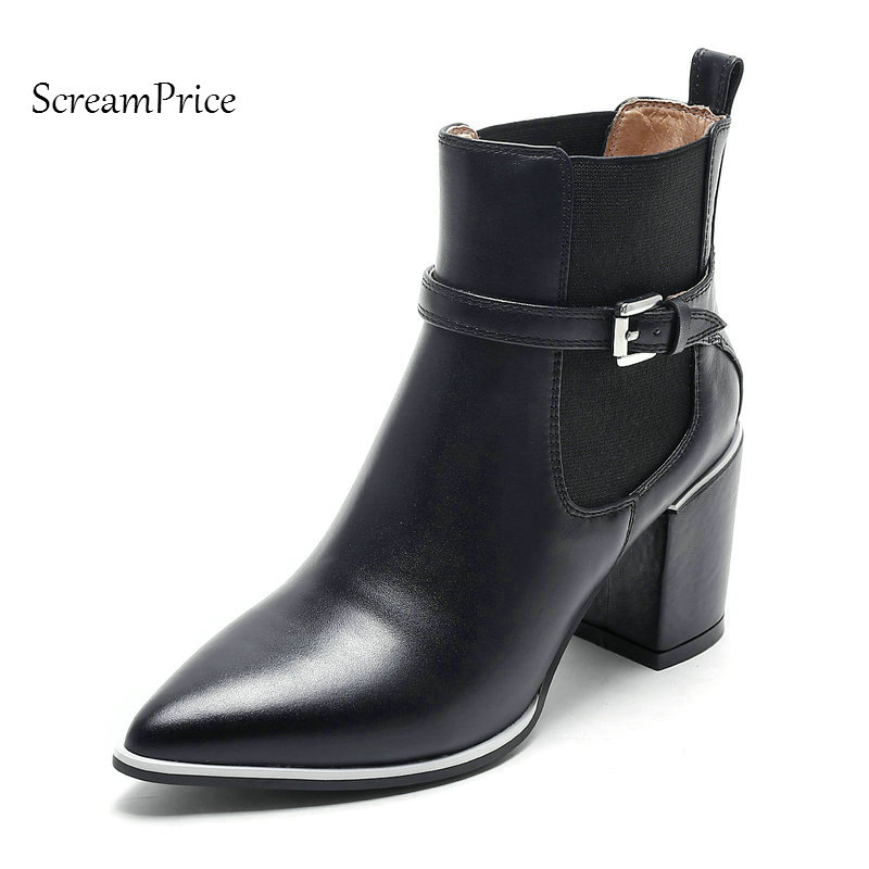 Woman Genuine Leather Thick High Heel Ankle Boots Fashion Buckle Dress Boots Elastic Band Pointed Toe Shoes Black