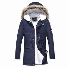 Мужские парки пальто с капюшоном 2018 мужские теплые корейские стильные стеганые куртки мужские с капюшоном повседневные зимние и осенние пальто добавить кашемировые парки
