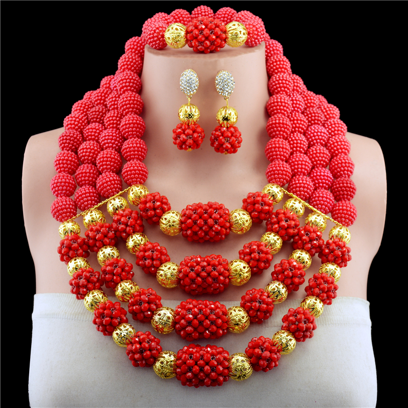 Bridal Jewelry Sets Red Nigerian Wedding African Beads Jewelry Set Crystal Women New Necklace Set Free ShippingBridal Jewelry Sets Red Nigerian Wedding African Beads Jewelry Set Crystal Women New Necklace Set Free Shipping