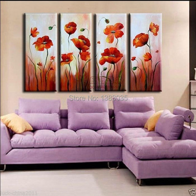 Wall Art Sets For Living Room Small Decorating Tips Hand Painted Abstract Orange Poppy Painting Oil On Canvas 4 Piece Modern Flower