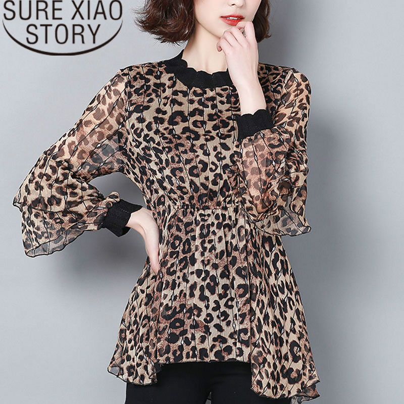 blusas mujer de moda 2019 printed leopard women chiffon   blouses     shirts   plus size long sleeves women tops   shirts   causal 2211 50