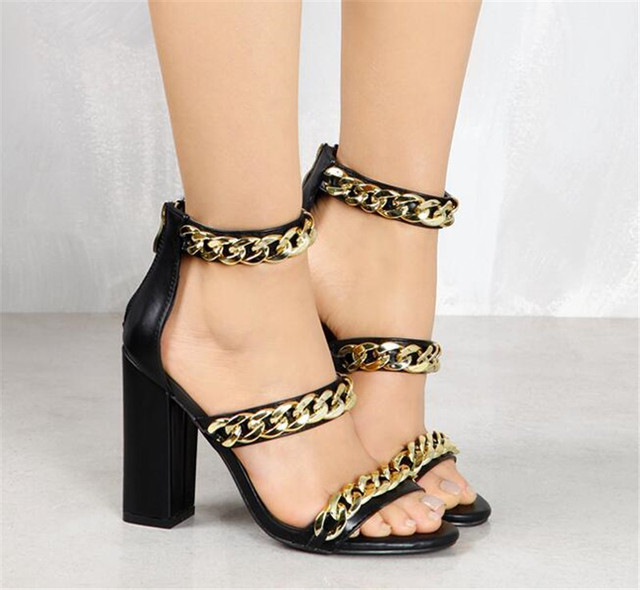 Sestito Ladies Fashion Chunky Heels Dress Party Shoes Woman Chian Embellished  Gladiator Sandals Female 3 Straps Zipper Sandals 2a9587f41c20