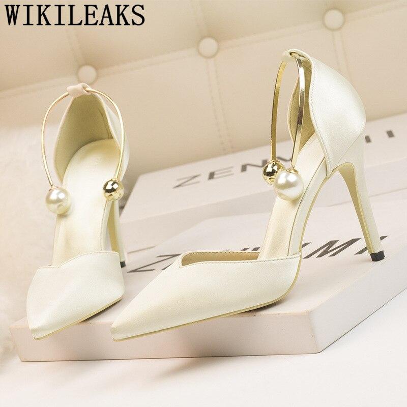 dress shoes women pearl fetish high heels sandals women wedding shoes bride fashion heels pumps women shoes new arrival 2019