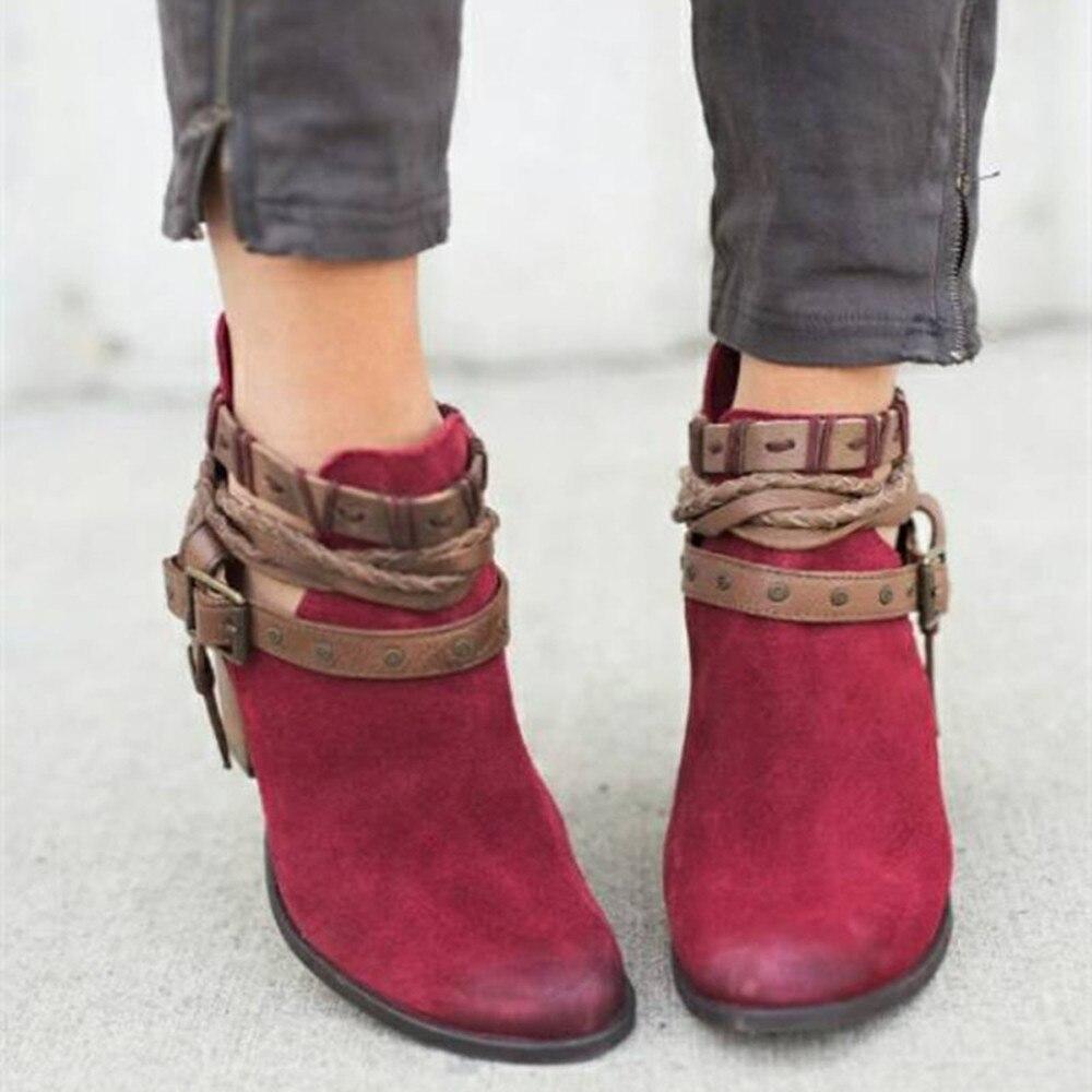 Automne Pointu Mode Femmes Sexy Talons Boucle Bas Rivet Bottines Chaussures Flock À Bottes Bout rouge Femme Noir 5Uxqwp0Ow