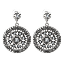 Wholesale Exotic Round Drop Vintage Hollow Out Dangle earrings Antique Silver fashion Jewelry Bjouterie