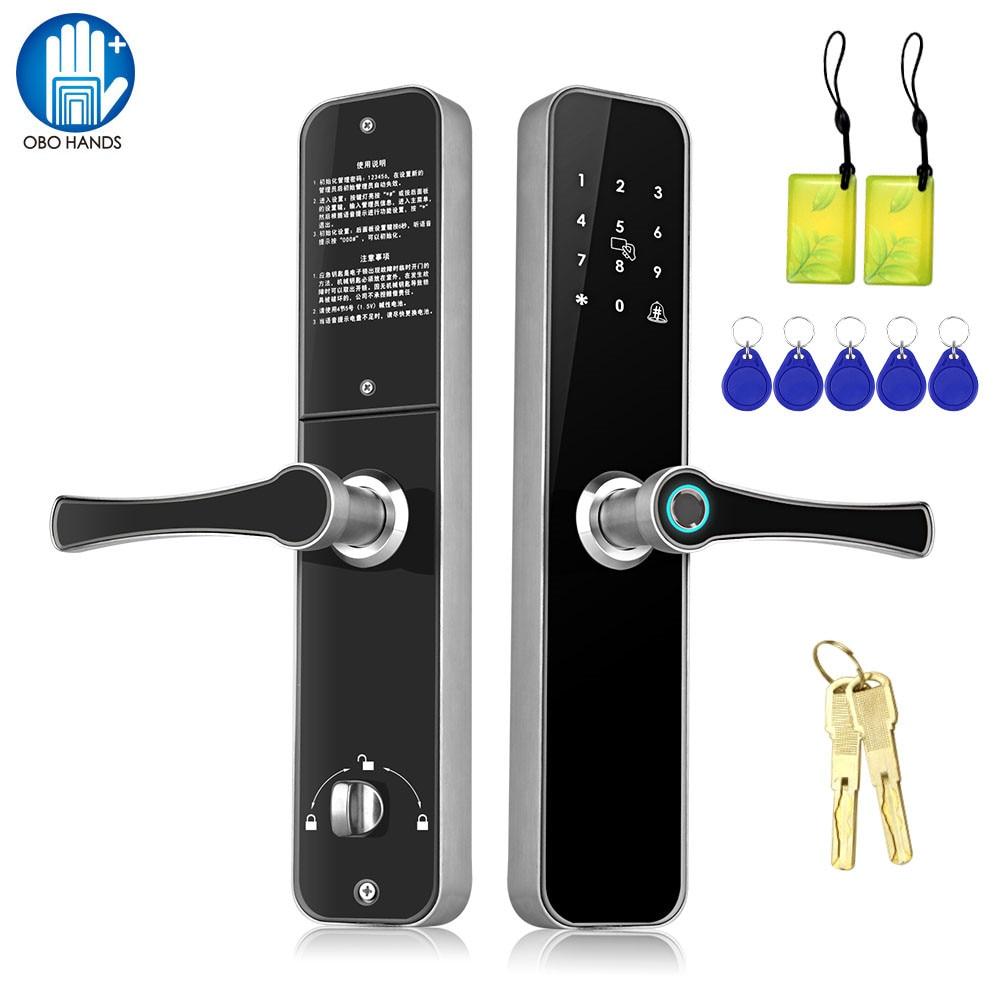 Serrure intelligente de porte d'empreinte digitale Kit de système de contrôle d'accès sans fil biométrique RFID 13.56 MHz mot de passe serrures électroniques à distance