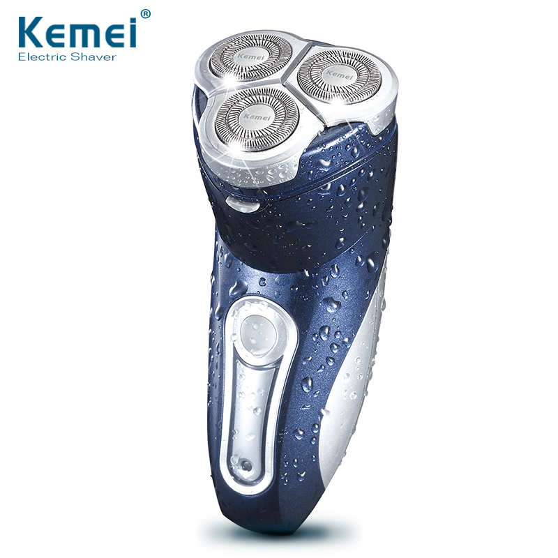 Kemei 3 Heads Washable Electric Shaver Triple Blade Electric Rechargeable Shaving Razors Men Face Care 3D Floating Free Shipping kemei 3 in1 363 washable 4 heads electric razor rechargeable electric shaver four blade shaving razors men face care 5d floating