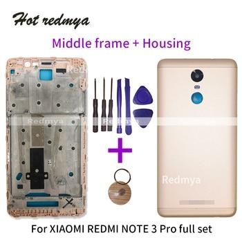 סוללה כיסוי עבור Xiaomi Redmi הערה 3 פרו מול אמצע מסגרת לוח + מתכת סוללה חזרה כיסוי תיקון חלק 150mm עם כלים