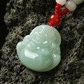Natural Burma jade pendant 100% Hand Carved Jade Buddha Maitreya Buddha Pendant Necklace men's pendant for gift