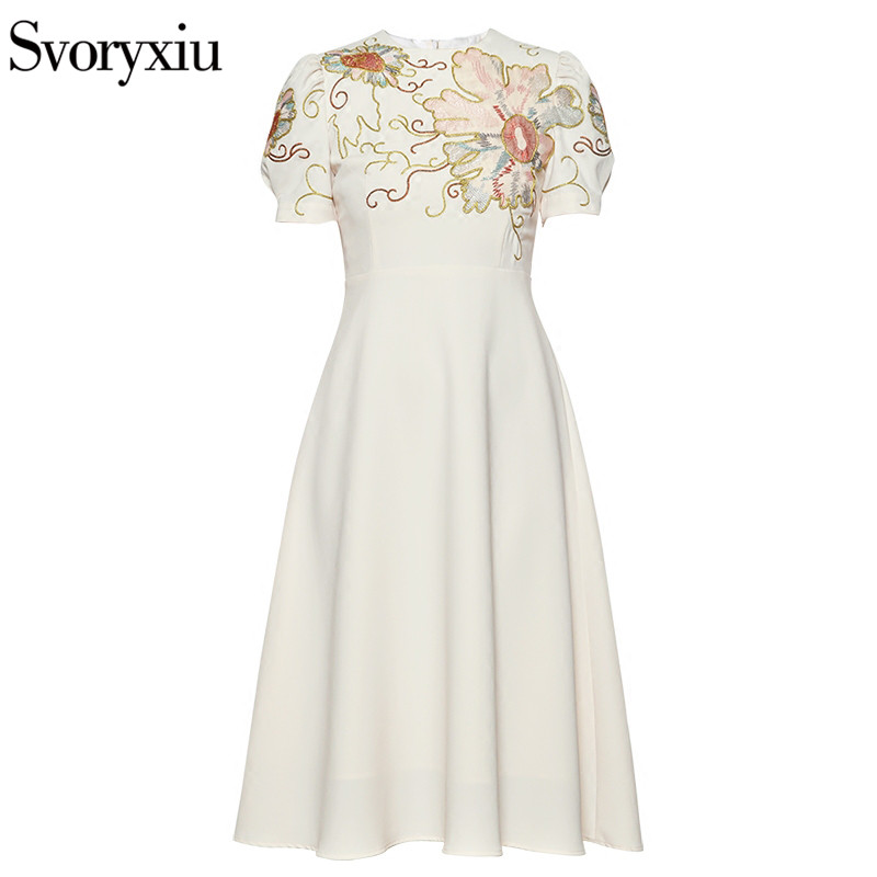 Svoryxiu Summer Runway Designer Brand Dress Women's High Quality Short Sleeve Fine Floral Embroidery Midi Dresses