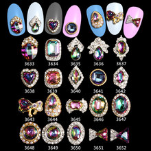 wholesale -100PCS/Lot  Japan trending style luxury charms 3d alloy AB crystal nail art Crystal Rhinestone Charms -3633-3652
