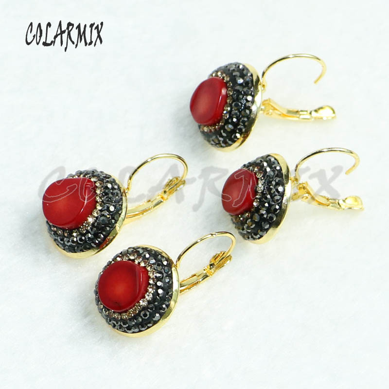 8 Pairs Fashion Red Coral earrings pave rhinestone Gold color metal earrings gift for lady 7000