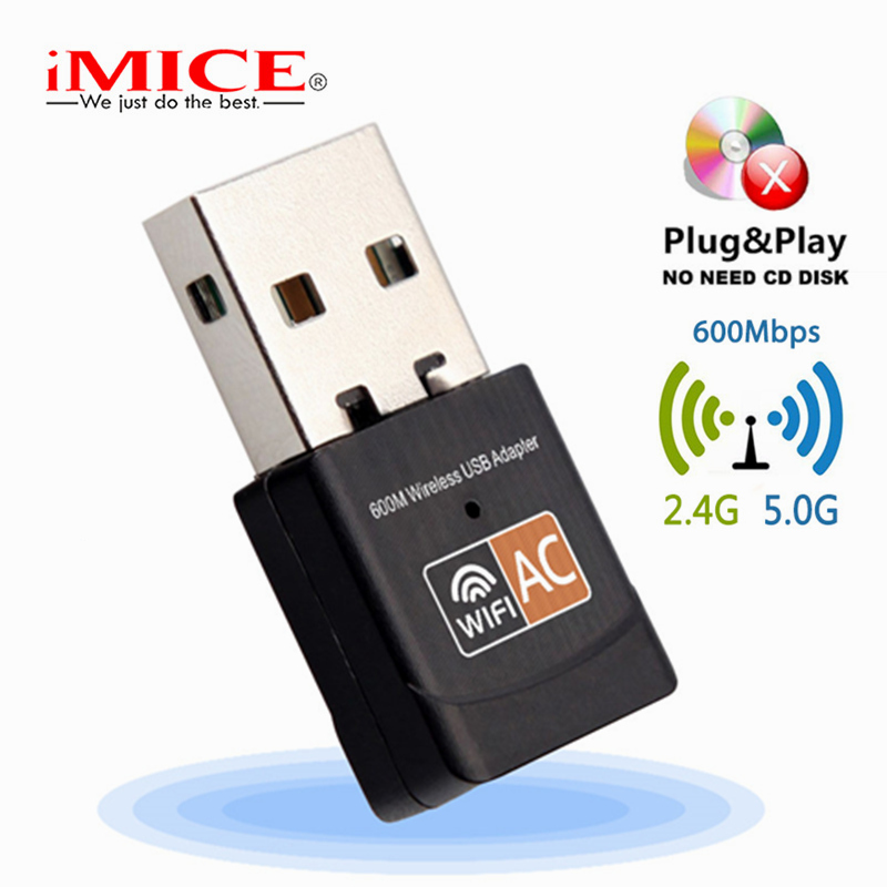 iMice USB WiFi Adapter PC 600Mbps AC Mini Wireless Wifi Antenna Network Card Dual Band 2.4+5.8Ghz Lan Ethernet Adapter 802.11ac usb