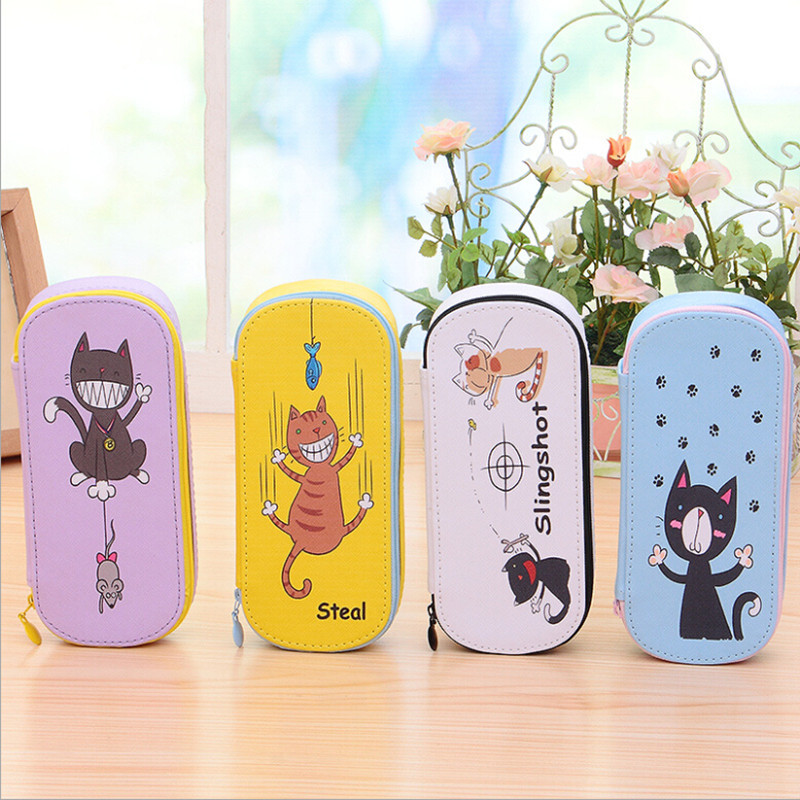 Cute Cat School Pencil Case For Girls Large Capacity PU EYS Pencil Bags Multifunction Pencase Storage Manager Stationery Gift недорго, оригинальная цена