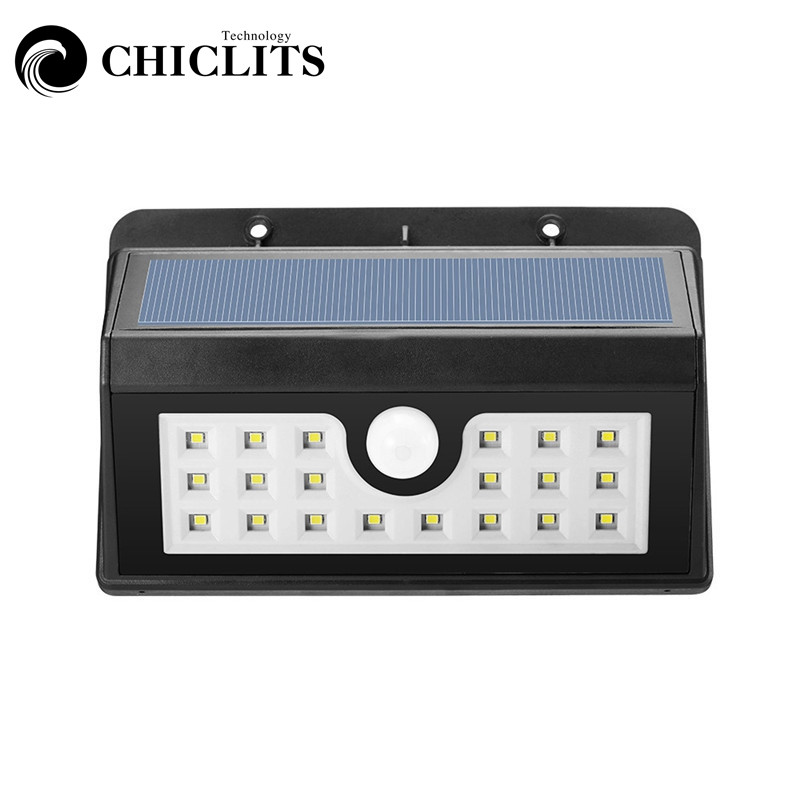 CHICLITS Solar Light Outdoor Wall Lamp 20 LED Smart PIR Motion Sensor Solar Lights Cool White Waterproof Emergency Night Light
