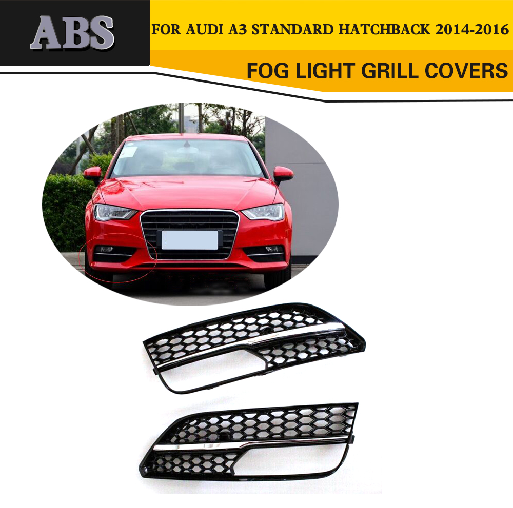 ABS Fog Lamp Grill Covers Trim For Audi A3 Sportback Standard Hatchback 4 Door Only 14-16 Non Sline RS3 Car Style