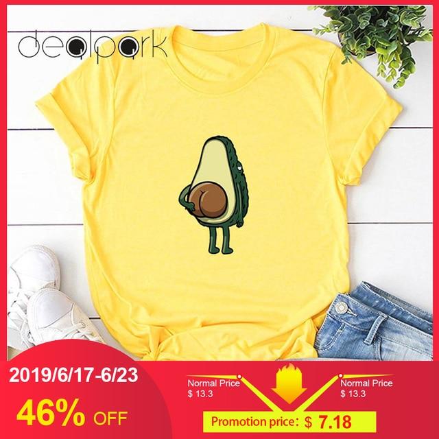 Women T Shirts 3XL 4XL 5XL Plus Size T-shirt Cartoon Avocado Pattern Print Short Sleeve Tops Korean tshirt Harajuku Tee Shirts