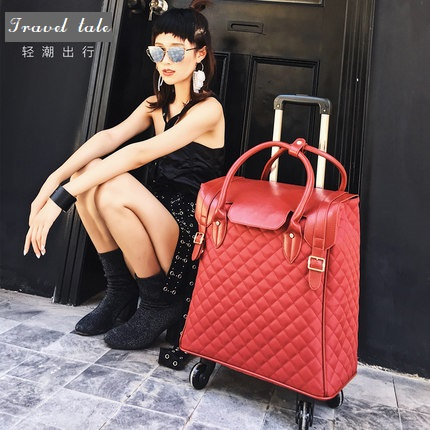 Travel tale high quality fashion 18 inch waterproof Nylon Rolling Luggage Spinner brand Travel Suitcase handbag