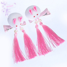 1pair Headdress Children Hair Ball Fringed Hair Ornaments Chinese Style Girls Baby Clips Hair Barrette Card Hairpins Accessories mini hat lace flower kids girls hair clips barrette style accessories for children hair hairclip ornaments hairpins head gifts