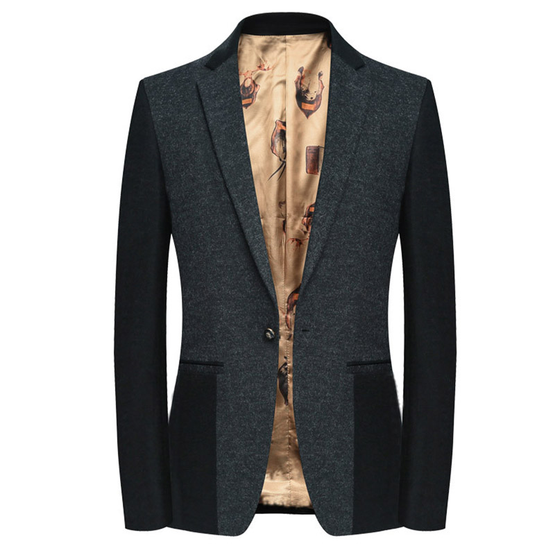 Sensfun 2018 High Quality Man Suit Blazers Jacket Silm Style Casual Business Coat One Button With Patch For Formal Party Cotton