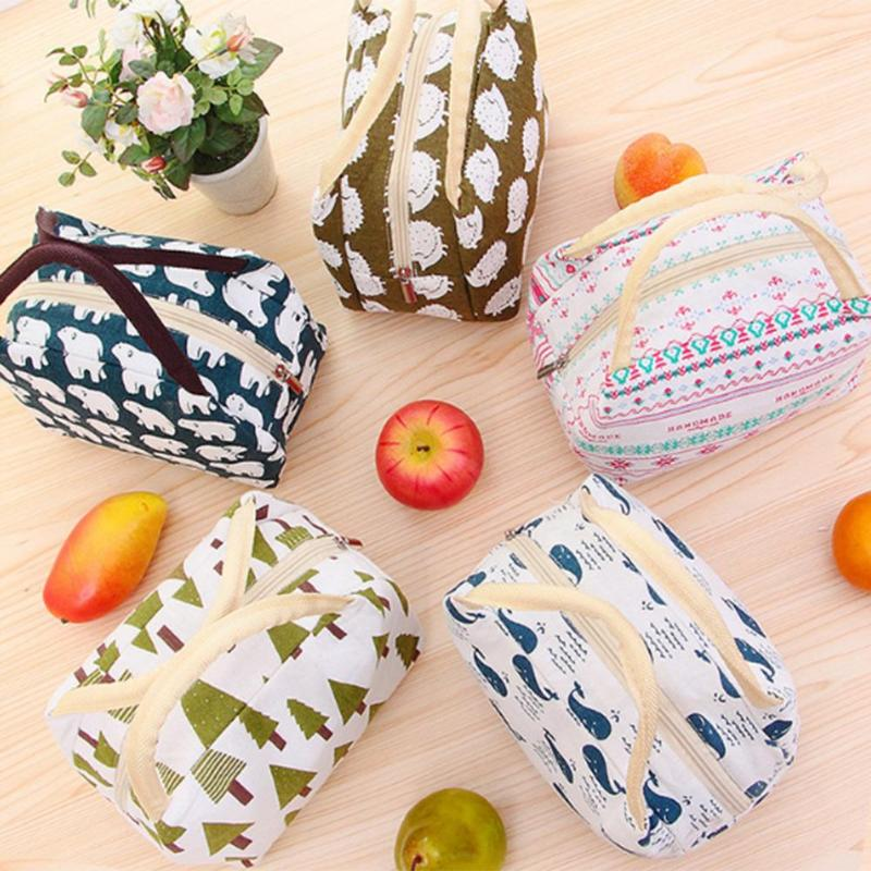 Portable Canvas Waterproof Lunch Bag High-quality High-capacity Field Trip Picnic Bags for Women Kids Men Cooler Lunch Box Bag