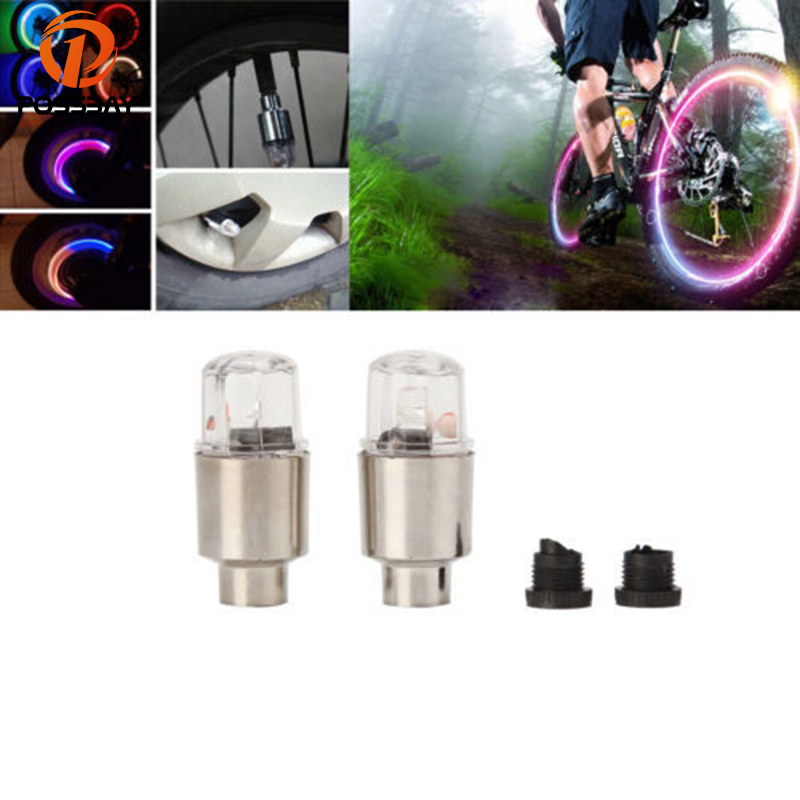 2Pack New Led Flash Tire Wheel Valve Cap Light For Car Bike Bicycle Motorcycle