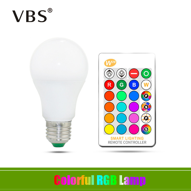 E27 LED Bulb 5W 10W 15W RGB + White 16 Color LED Lamp AC85-265V Changeable RGB Bulb Light With Remote Control + Memory Function