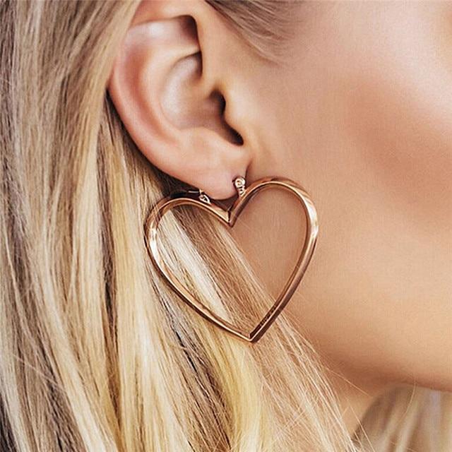 1 пара Двойное сердце серьги для Для женщин большое сердце серьги большие серьги минималистский Jewellery Oorbellen золотого и серебряного цвета Цвет